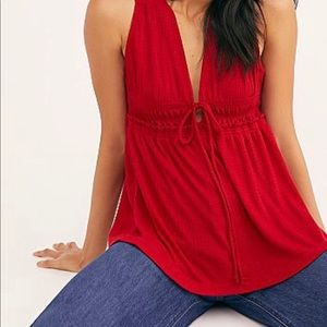 NWT Free People beach bound tank in red